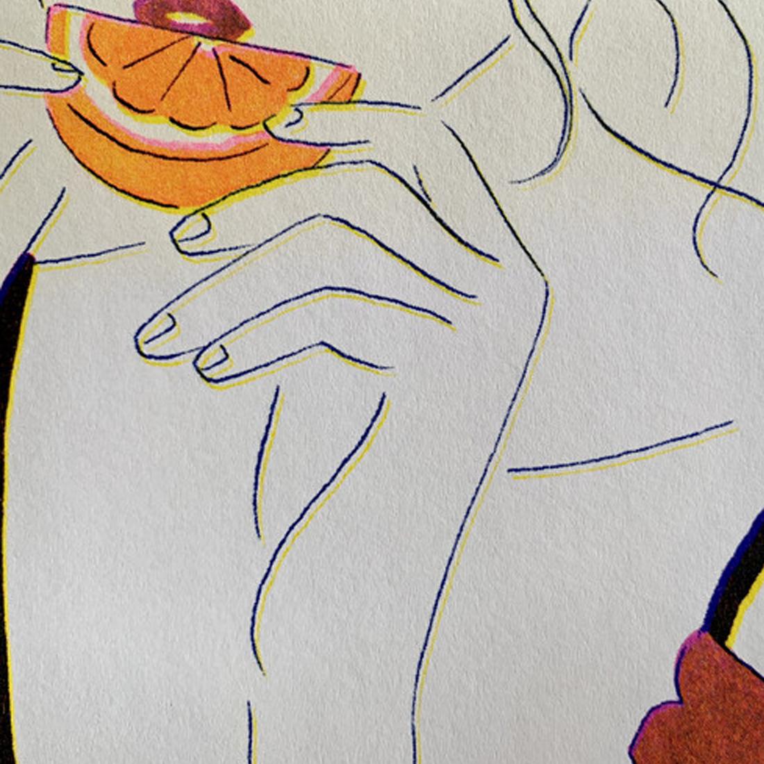 リソグラフ作品「オレンジ×ガーベラ」