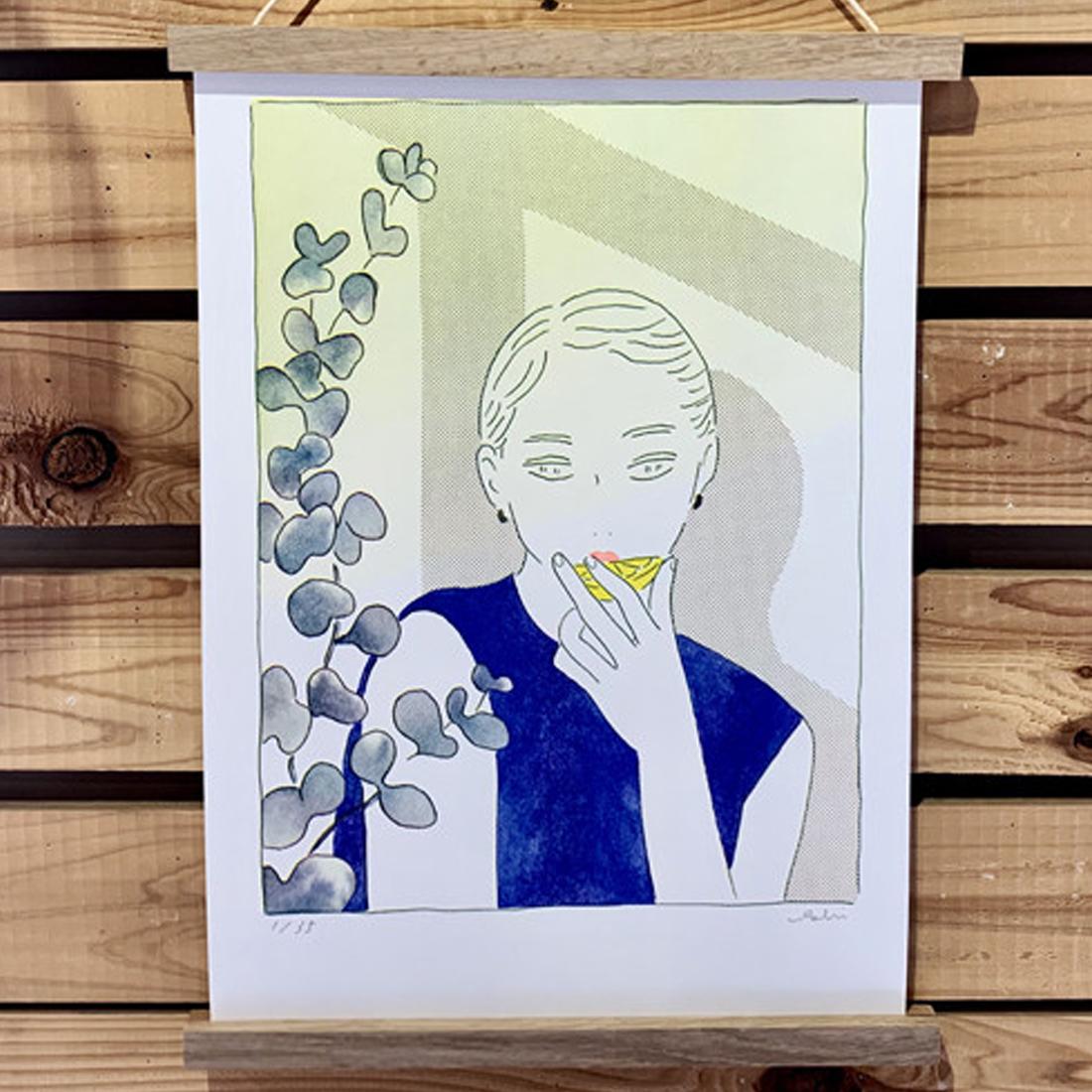 リソグラフ作品「レモン×ユーカリ」