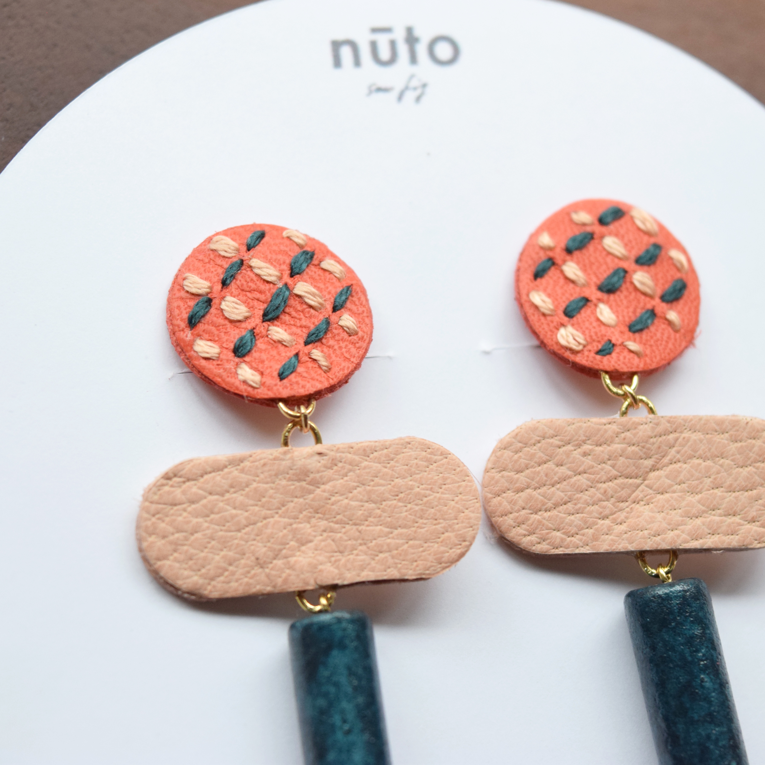 leather grid A earring
