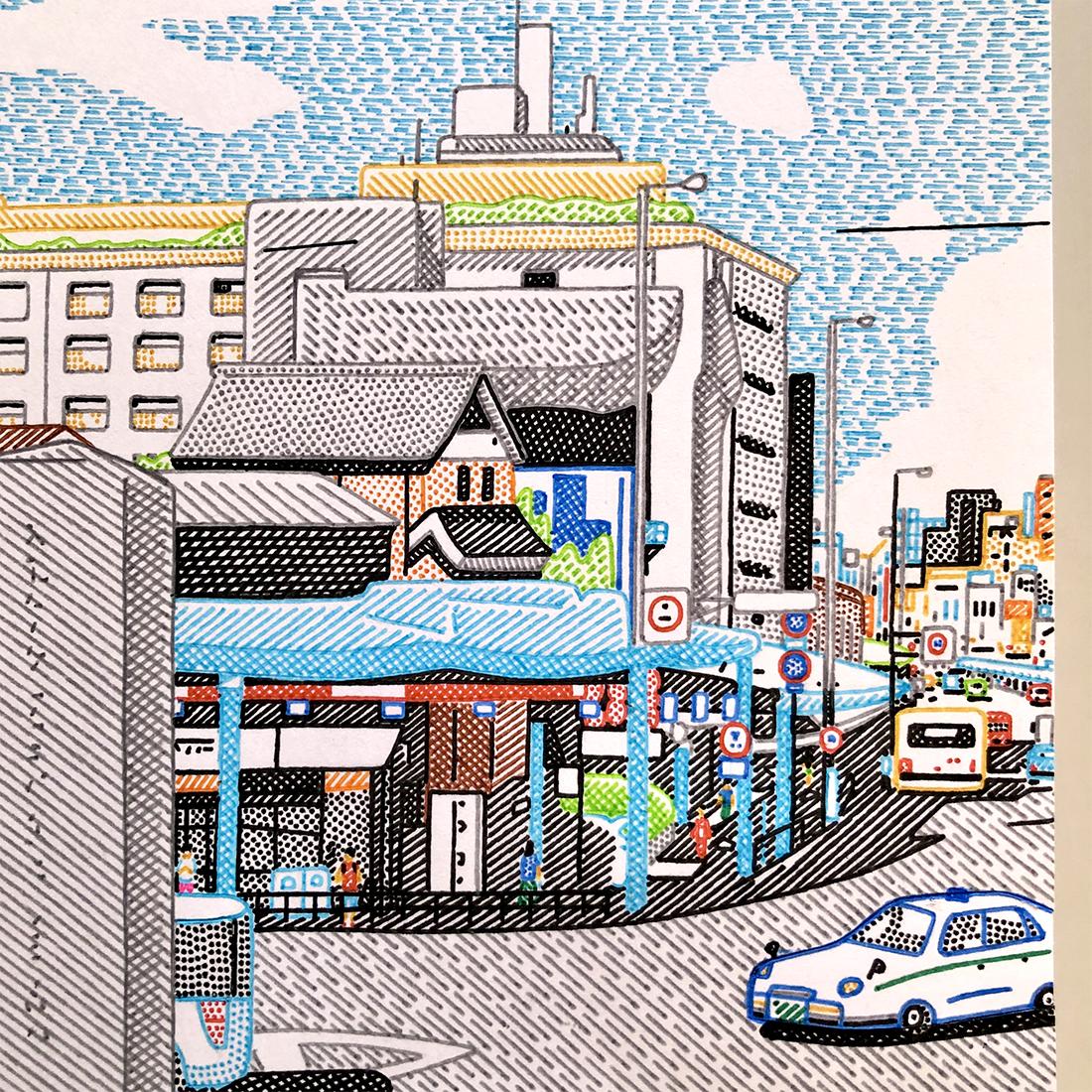 作品「神社のある町」